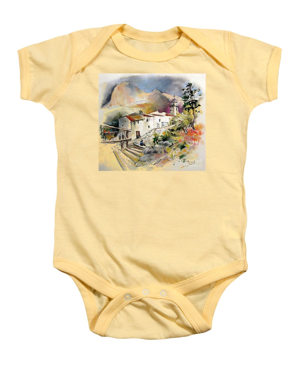 Pastel Painting Baby Onesie featuring the painting Polop De La Marina 01 by Miki De Goodaboom