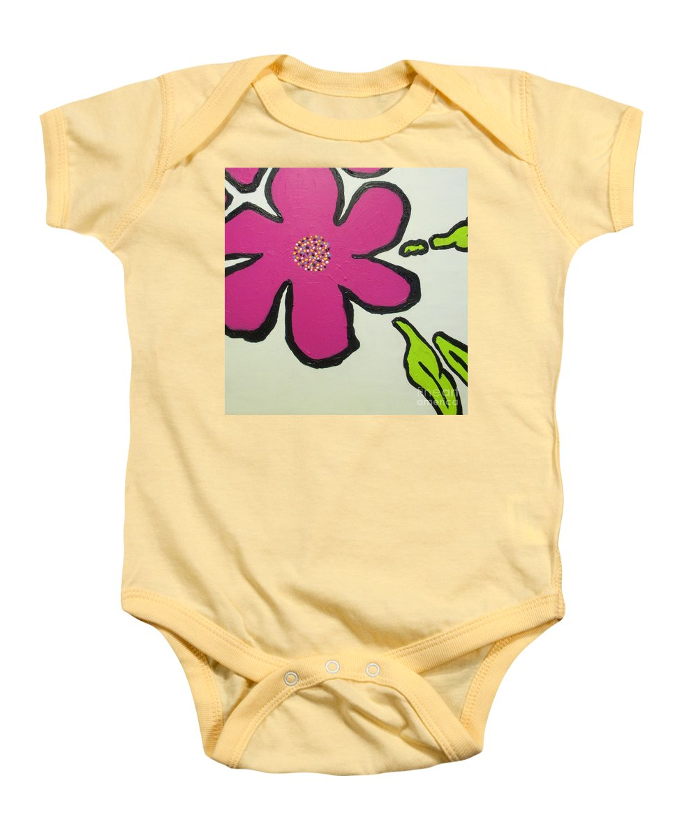 Flower Baby Onesie featuring the painting Pop Art Pansy by Maria Bonnier-Perez
