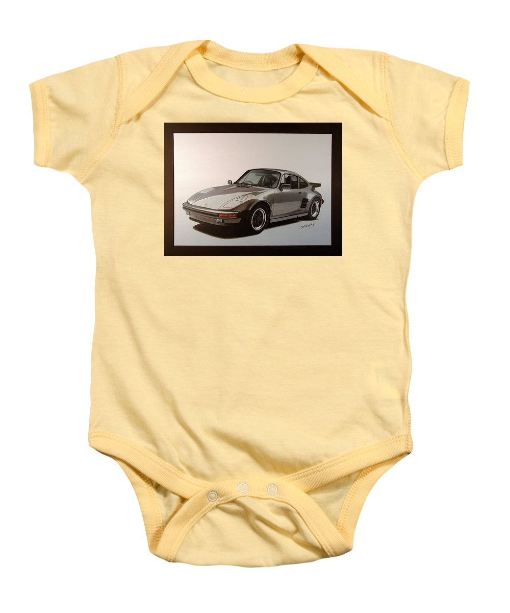 Car Baby Onesie featuring the painting Porsche by Shawn Stallings