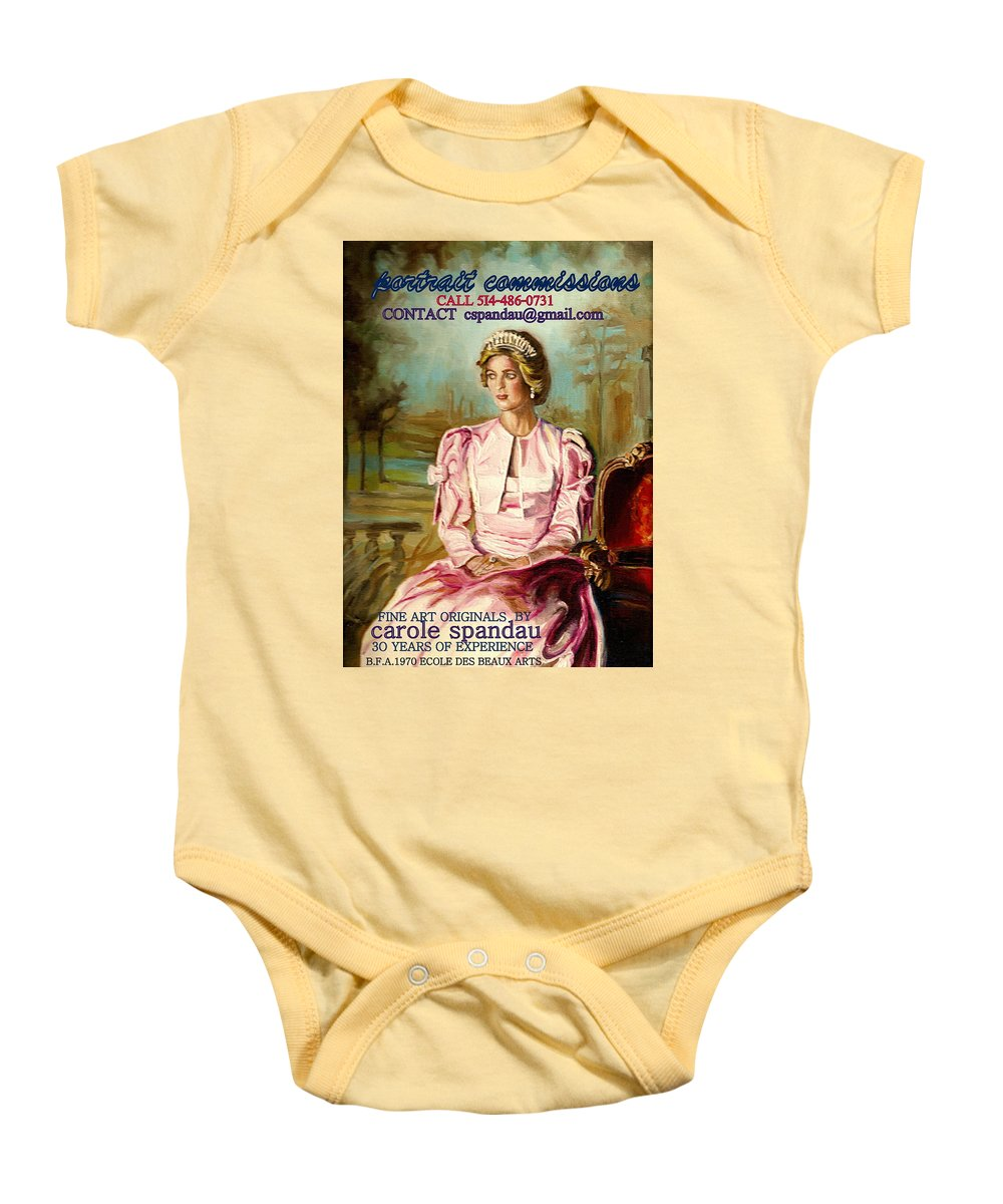 Commissioned Art Baby Onesie featuring the painting Portrait Commissions By Portrait Artist Carole Spandau by Carole Spandau