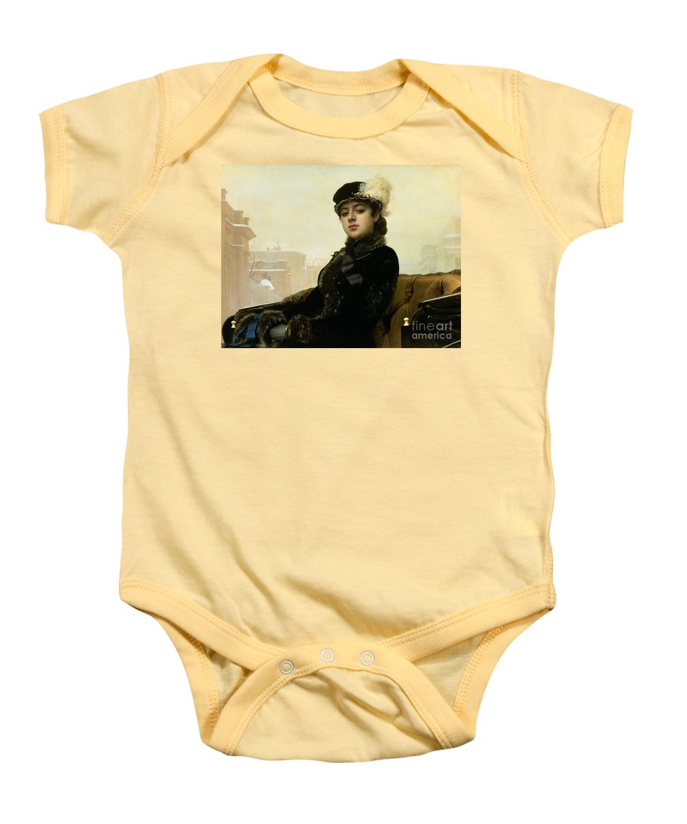 Beauty Baby Onesie featuring the painting Portrait Of An Unknown Woman by Ivan Nikolaevich Kramskoy