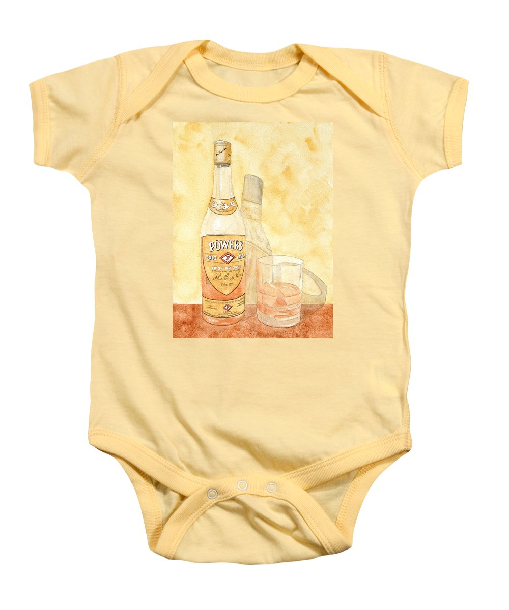 Irish Baby Onesie featuring the painting Powers Irish Whiskey by Ken Powers