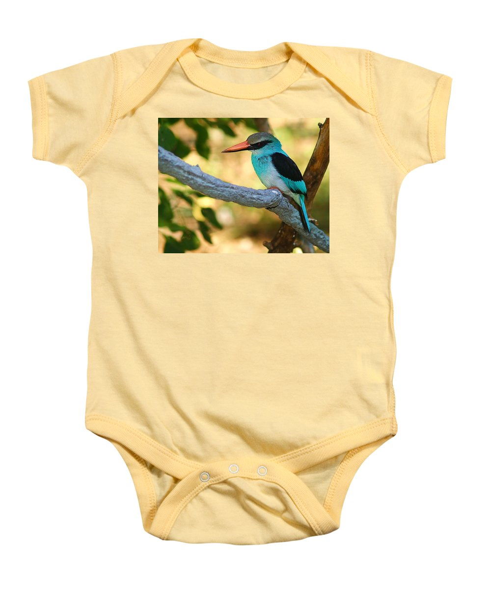 Kingfisher Baby Onesie featuring the photograph Pretty Bird by Gaby Swanson