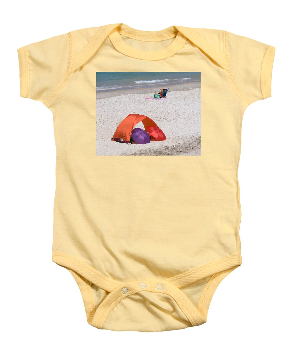 Florida; Vero; Beach; Shore; Coast; East; Atlantic; Ocean; Sand; Sandy; Umbrella; Umbrellas; Sun; Su Baby Onesie featuring the photograph Privacy For Two At The Beach by Allan Hughes