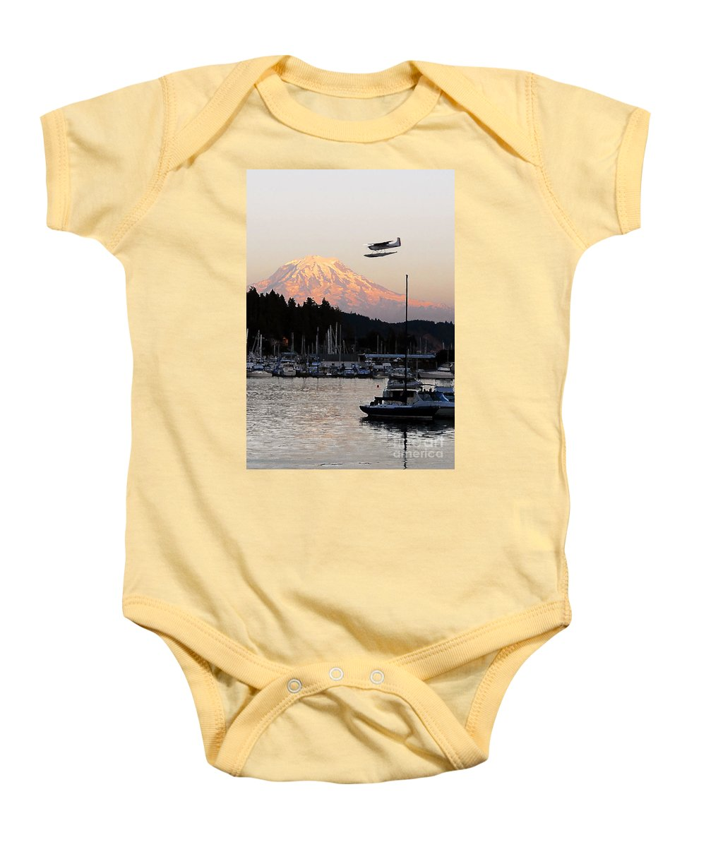 Puget Sound Baby Onesie featuring the photograph Puget Sound Landing by David Lee Thompson
