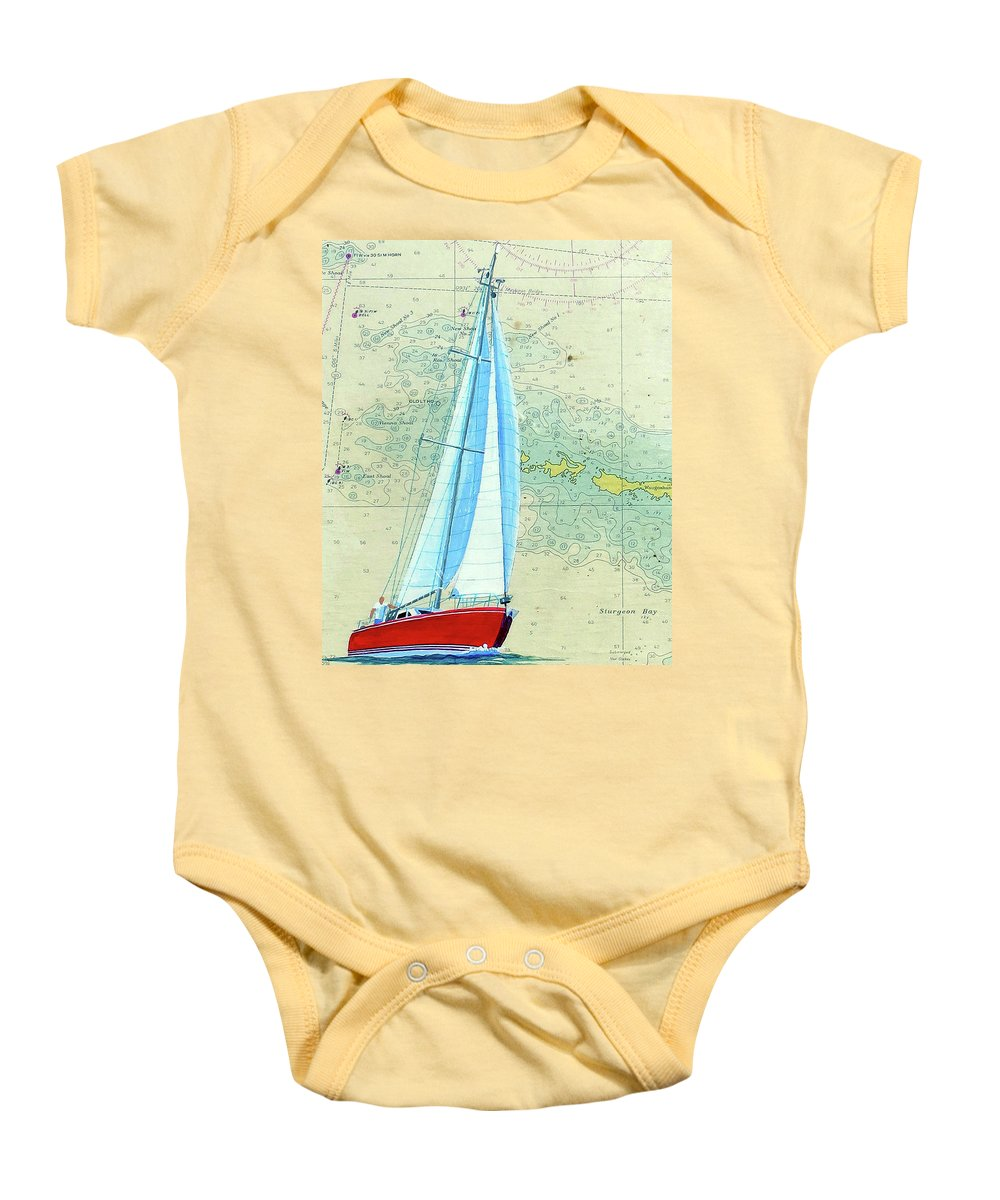 Great Lakes Baby Onesie featuring the painting Pure Michigan Boating by Dave Tobaben