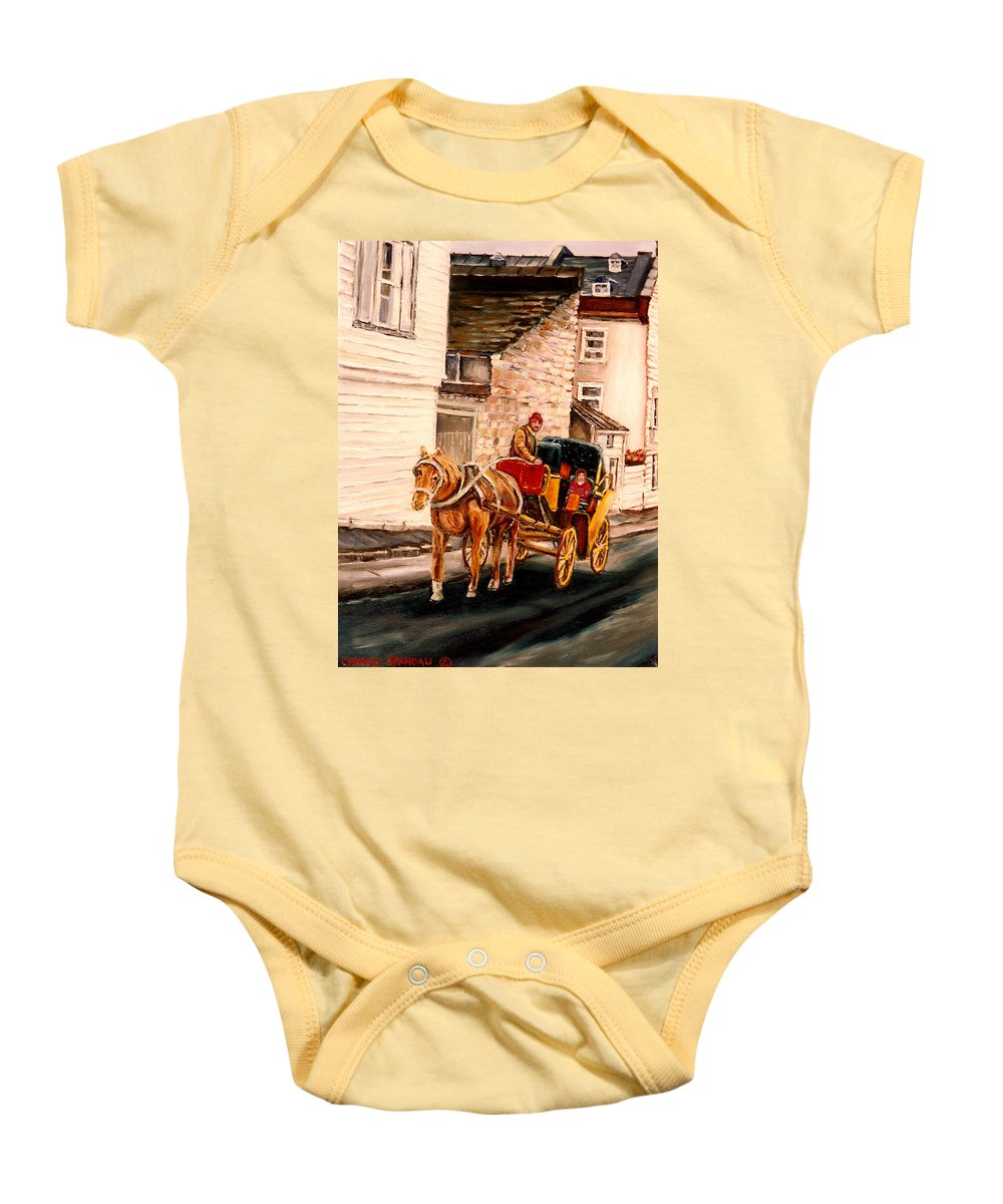 Quebec City Carriage Ride Baby Onesie featuring the painting Quebec City Carriage Ride by Carole Spandau