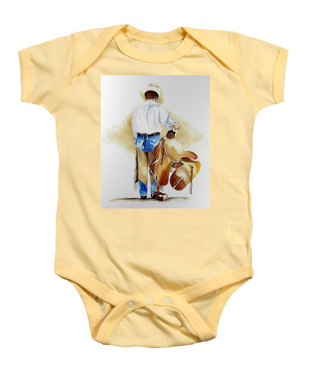 Boots Baby Onesie featuring the painting Quittin Time by Jimmy Smith