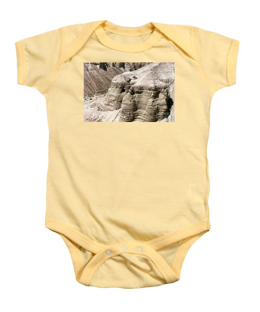 Ancient Baby Onesie featuring the photograph Qumran: Dead Seal Scrolls by Granger