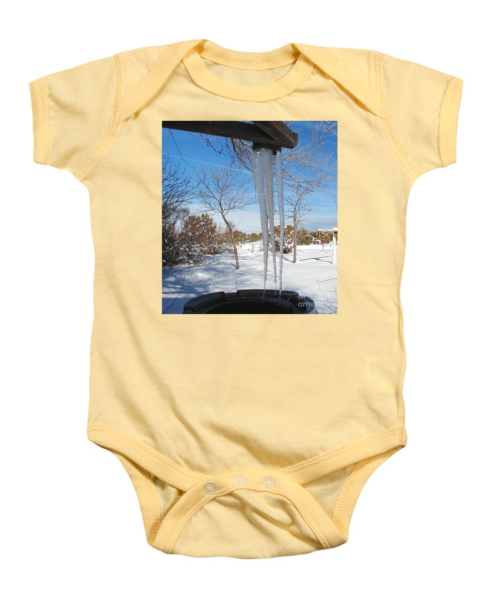 Icicle Baby Onesie featuring the photograph Rain Barrel Icicle by Diana Dearen