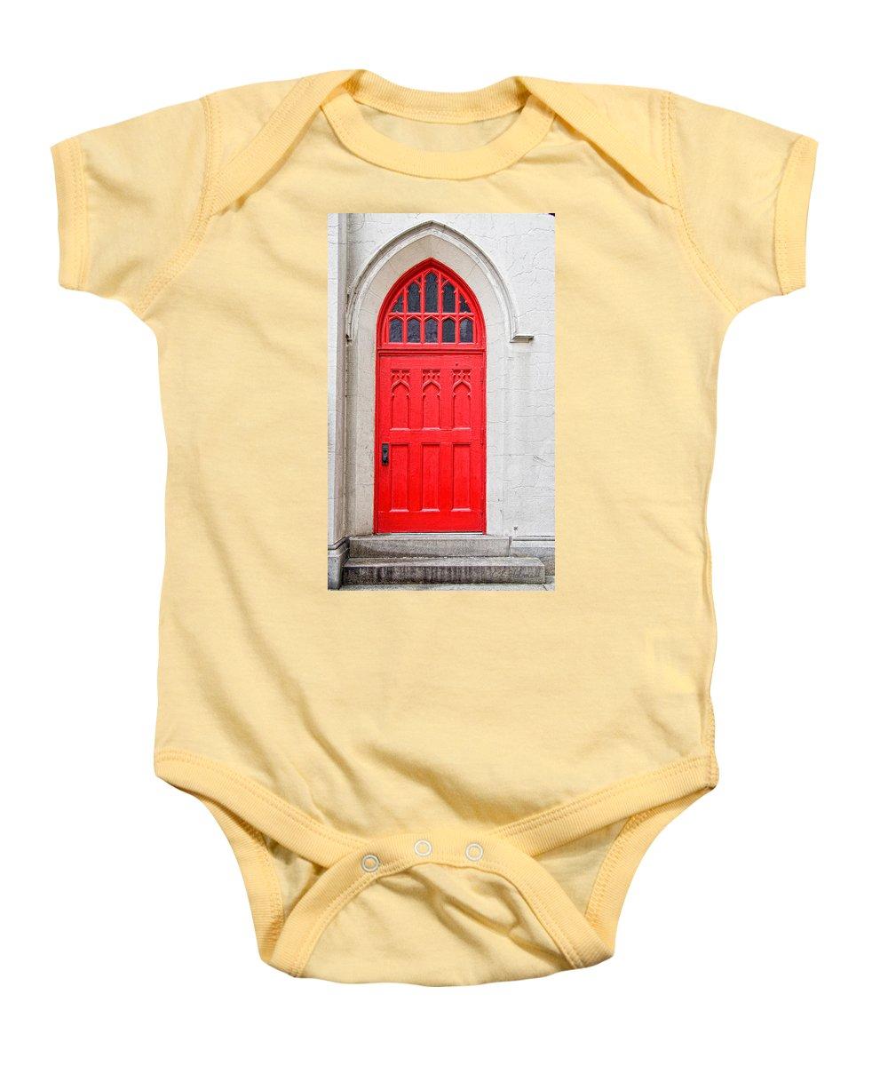 Door Baby Onesie featuring the photograph Red Door by Christopher Holmes