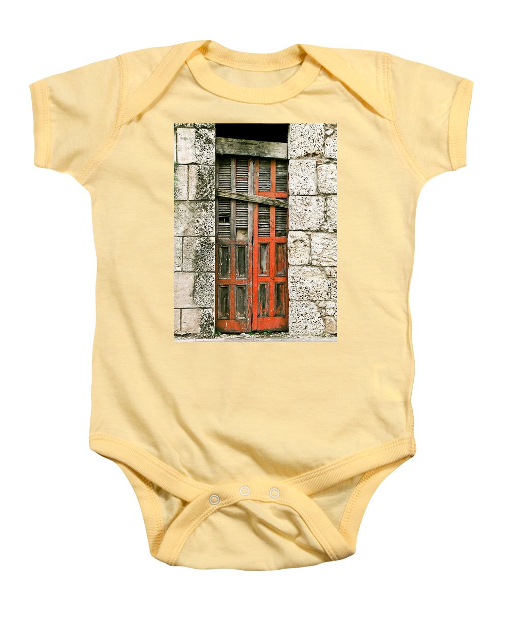 Door Baby Onesie featuring the photograph Red Door by Douglas Barnett