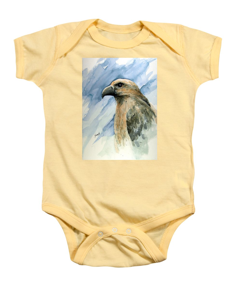 Bird Baby Onesie featuring the painting Red by Sam Sidders