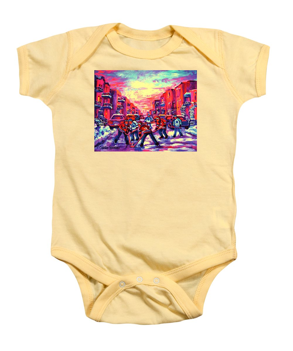 Hockey Game Baby Onesie featuring the painting Red White And Blue by Carole Spandau