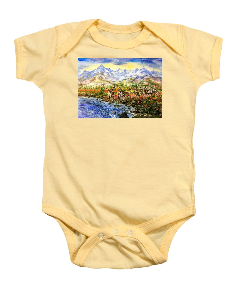 Северные олени Baby Onesie featuring the painting Reindeer Herd At The Watering Hole. by Igor Moshkin