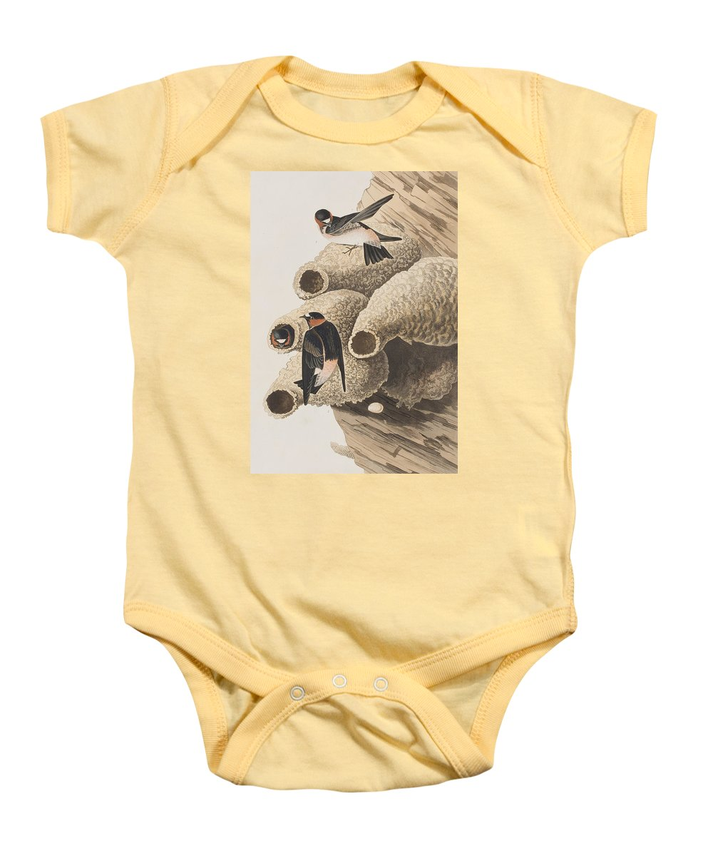 Republican Swallow Baby Onesie featuring the painting Republican Or Cliff Swallow by John James Audubon
