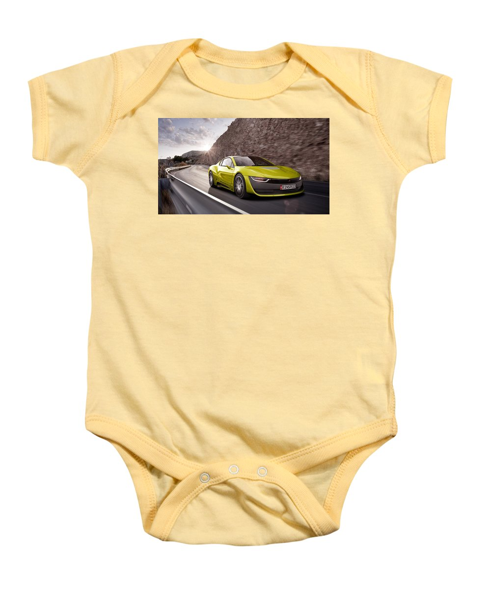 Baby Onesie featuring the digital art Rinspeed Etos Concept Self Driving Car by Alice Kent
