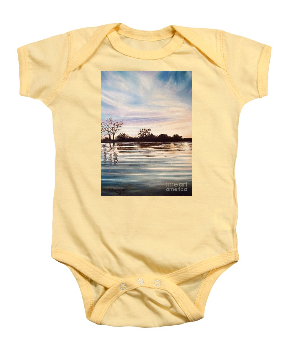 Oil Baby Onesie featuring the painting Rippled Glass by Elizabeth Robinette Tyndall