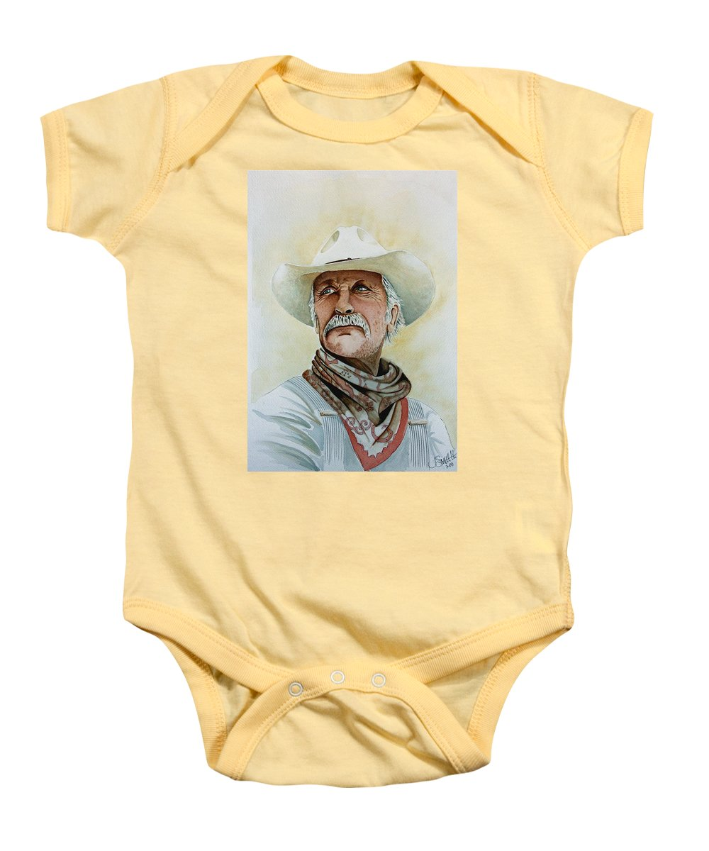 Cowboy Baby Onesie featuring the painting Robert Duvall As Augustus Mccrae In Lonesome Dove by Jimmy Smith