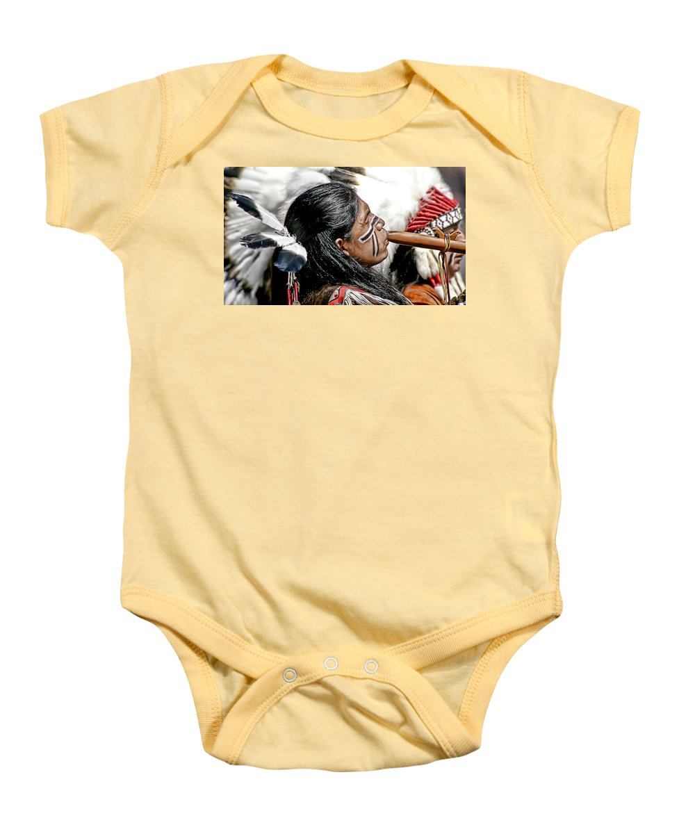 American Indian Baby Onesie featuring the photograph Sacred Flute by Donovan Torres