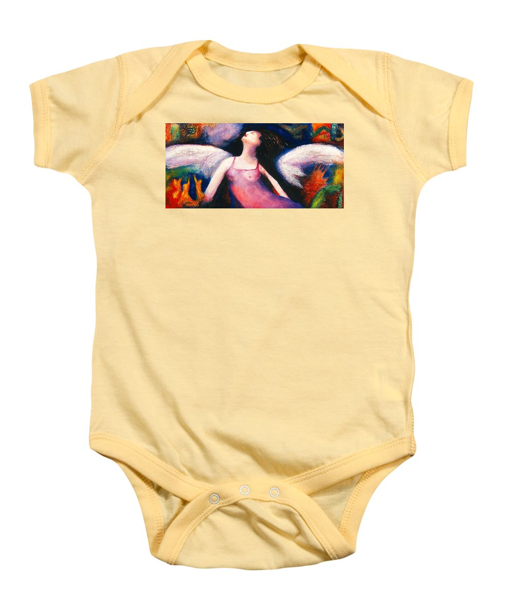 Saint Baby Onesie featuring the painting Saint Marcela by Claudia Fuenzalida Johns