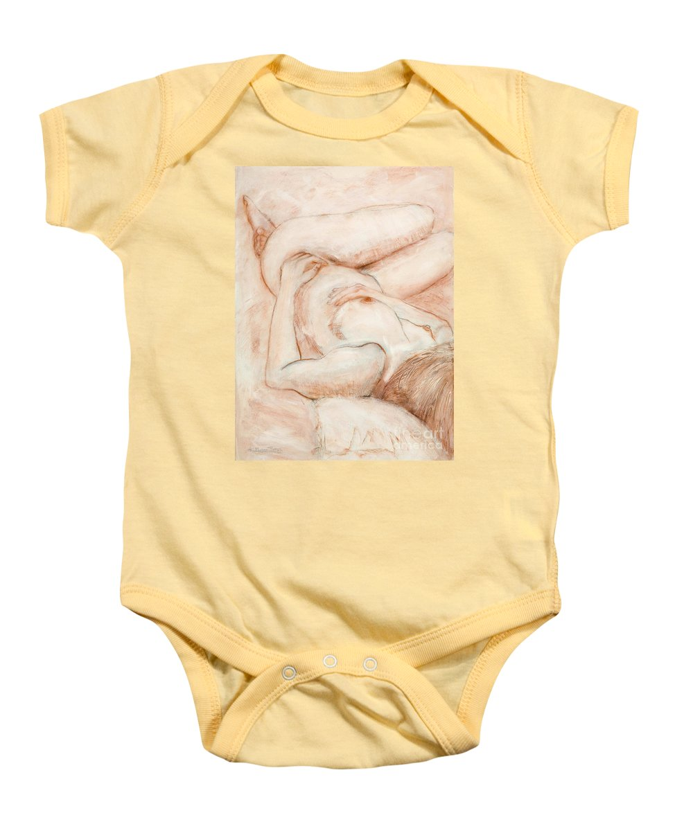 Female Baby Onesie featuring the drawing Sanguine Nude by Kerryn Madsen-Pietsch