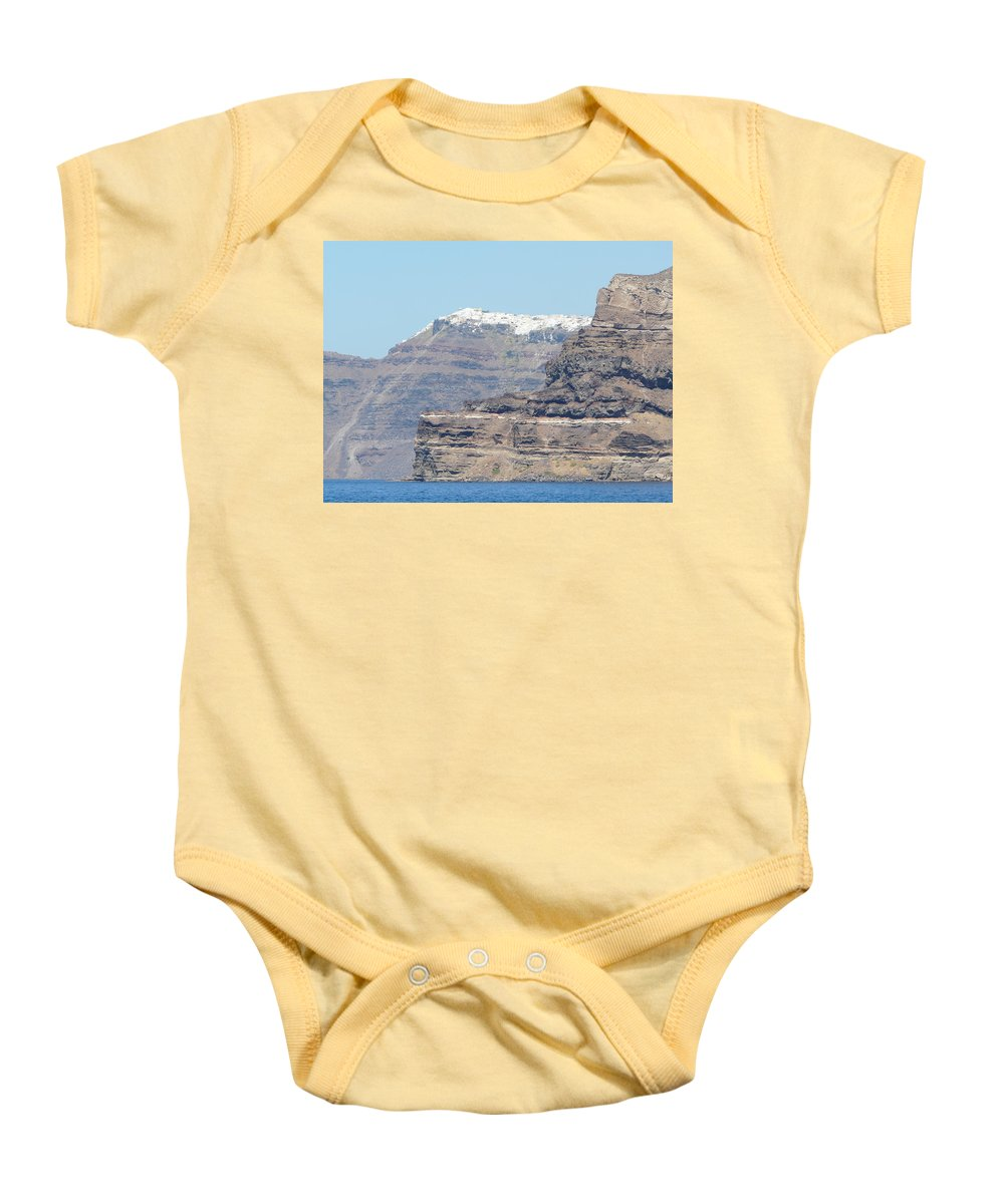 Santorin Baby Onesie featuring the photograph Santorini Fira by Valerie Ornstein