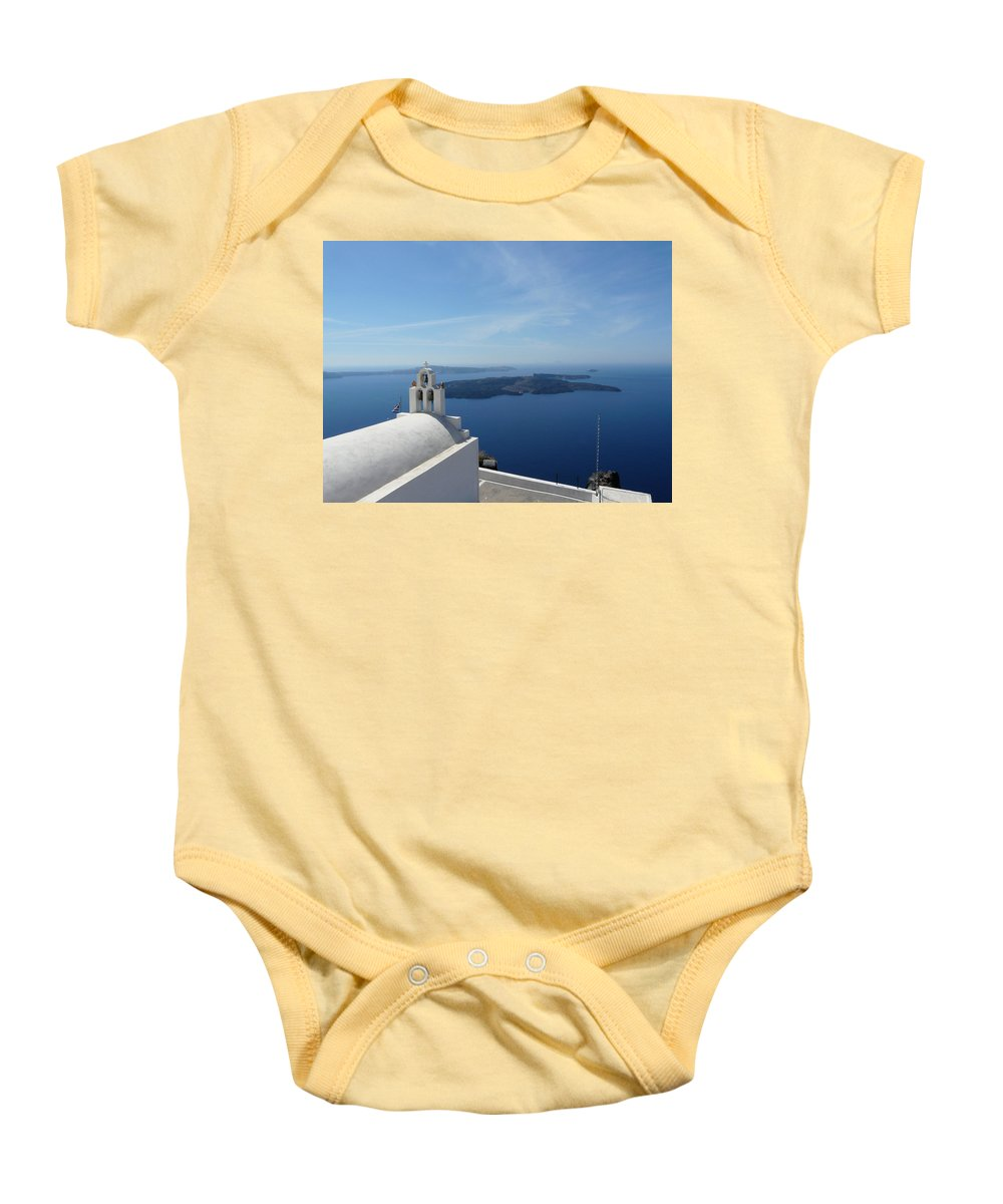 Landscape Baby Onesie featuring the photograph Santorini Greece by Valerie Ornstein