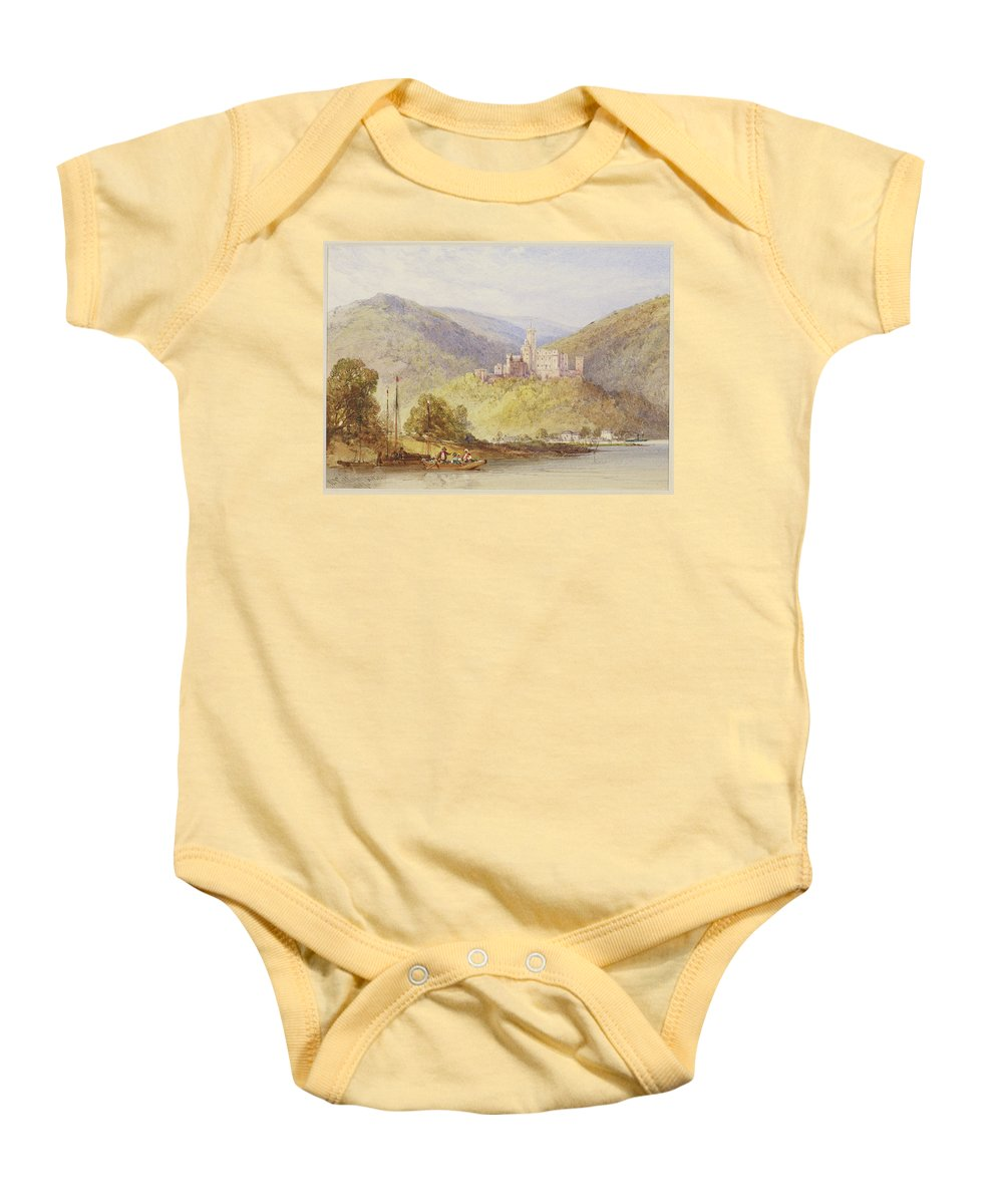 William Callow (1812-1908) Schloss Stolzenfels From The Banks Of The Lahn Dated 1887 Baby Onesie featuring the painting Schloss Stolzenfels From The Banks Of The Lahn by William Callow