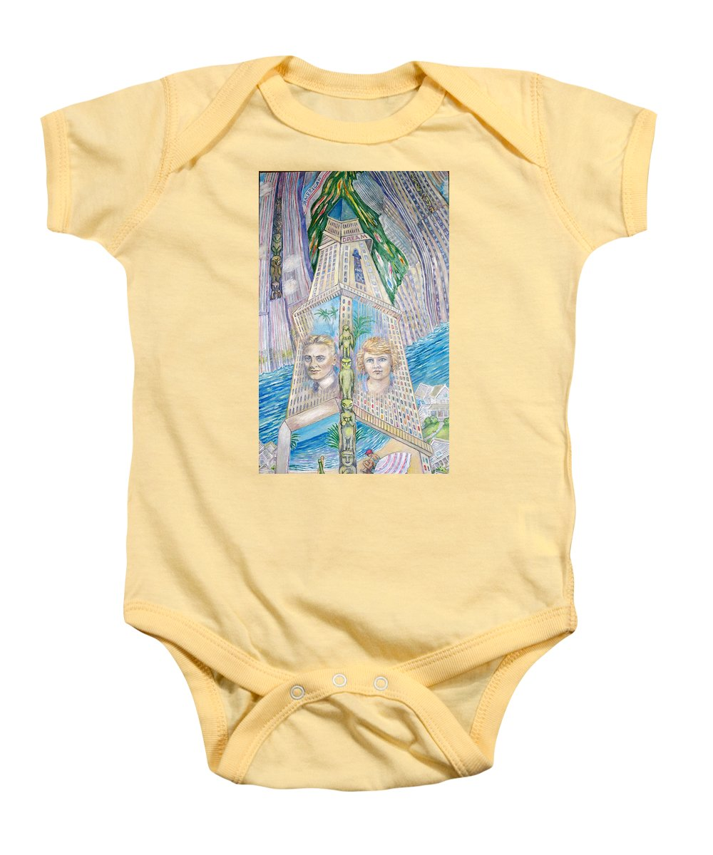 New York Fantasy Baby Onesie featuring the painting Scott And Zelda In Their New York Dream Tower by Patricia Buckley