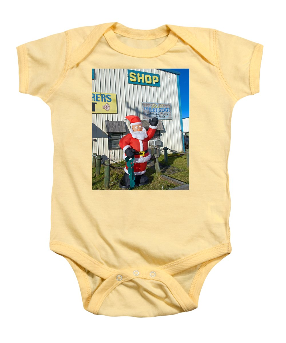Florida; Christmas; Gift; Santa; Claus; Suggestion; Suggest; Present; Recommend; Recommendation; Cap Baby Onesie featuring the photograph Seashell Seats For Christmas by Allan Hughes