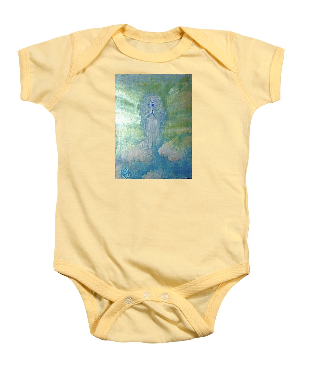 Second Coming. Jesus Baby Onesie featuring the painting Second Coming by T Byron K