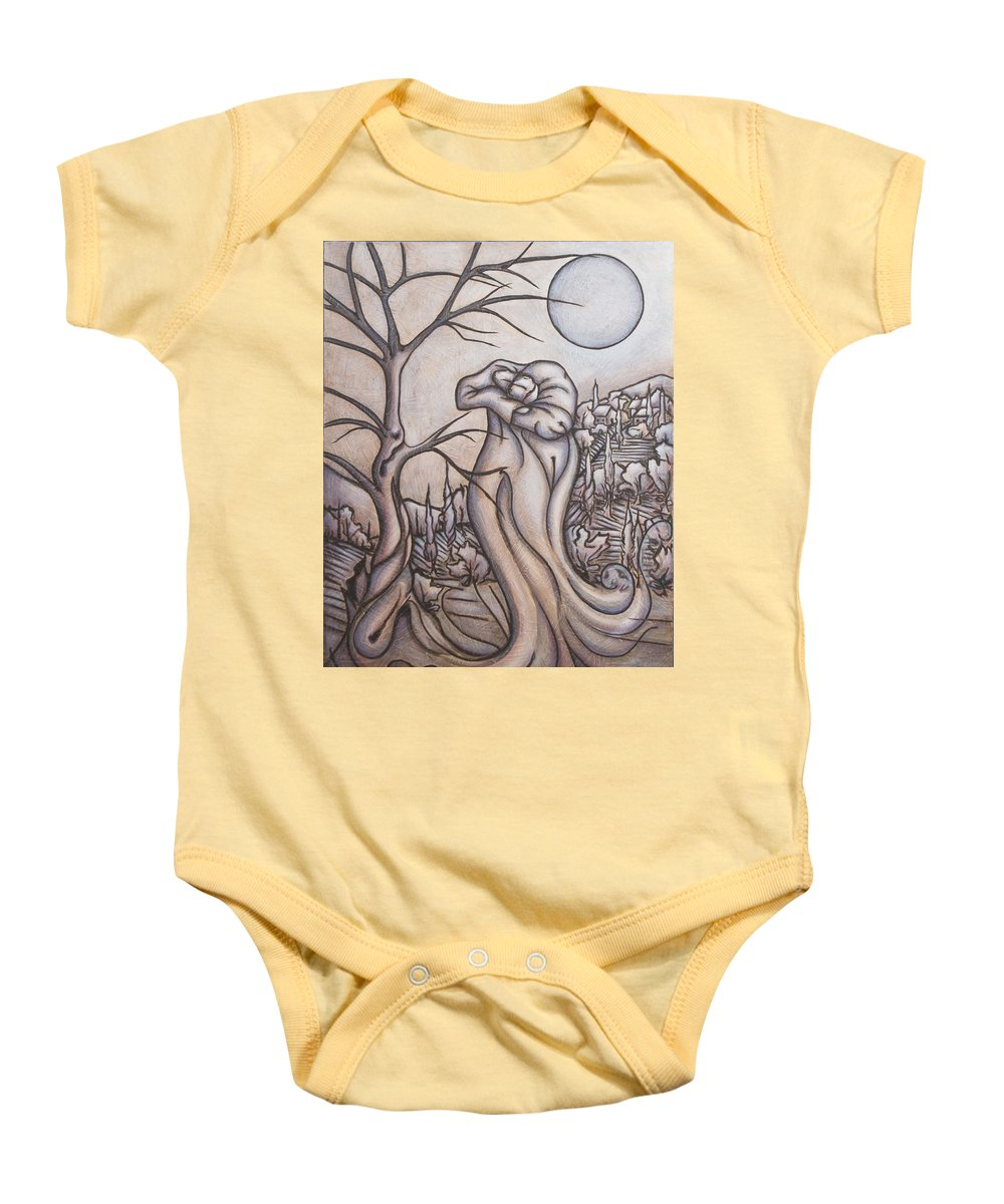 Dream. Moon Baby Onesie featuring the painting Secrets And Dreams by Judy Henninger