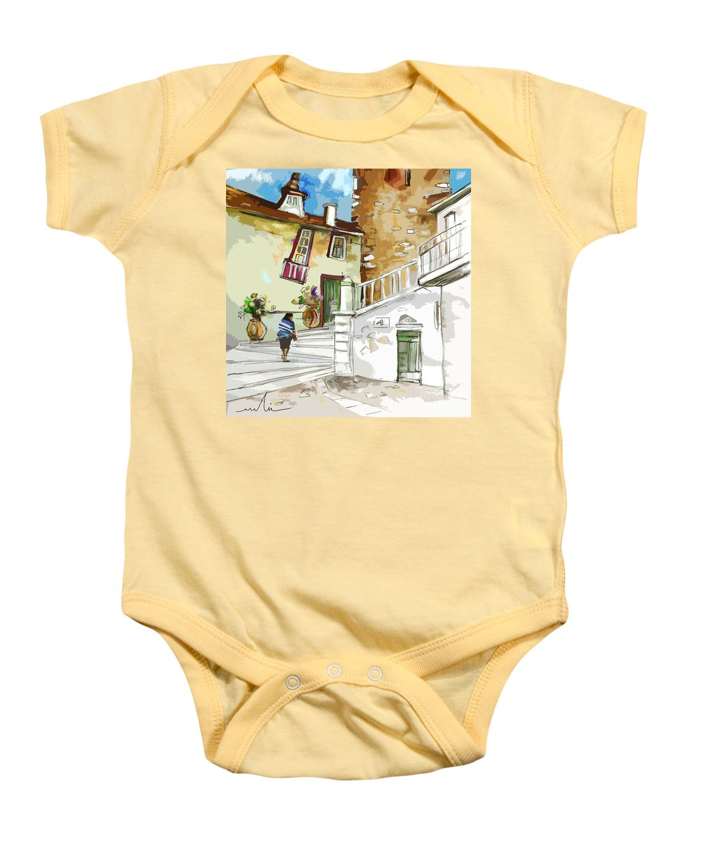 Painting Of Serpa Alentajo Portugal Travel Sketch Baby Onesie featuring the painting Serpa Portugal 03 Bis by Miki De Goodaboom