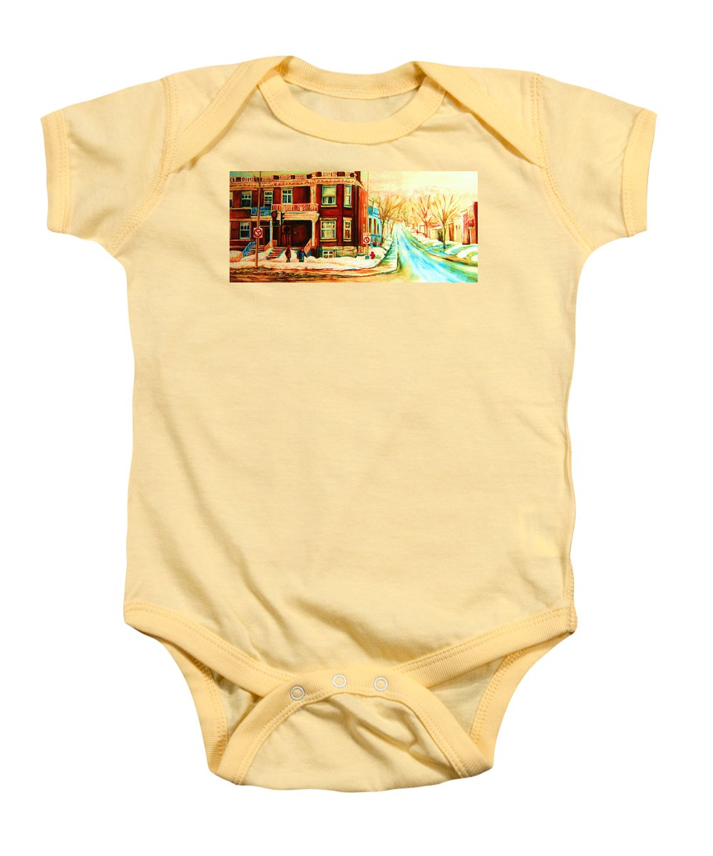 Montreal Baby Onesie featuring the painting Sherbrooke In Winter by Carole Spandau