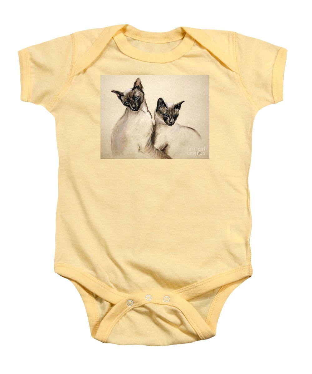Cat Baby Onesie featuring the drawing Sibling Love by Cori Solomon