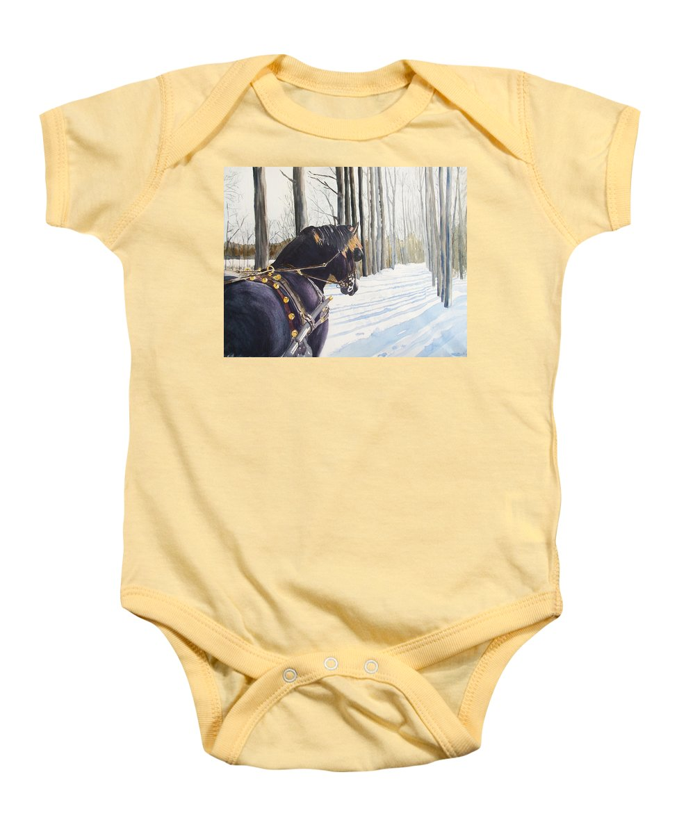 Horse Baby Onesie featuring the painting Sleigh Bells by Ally Benbrook