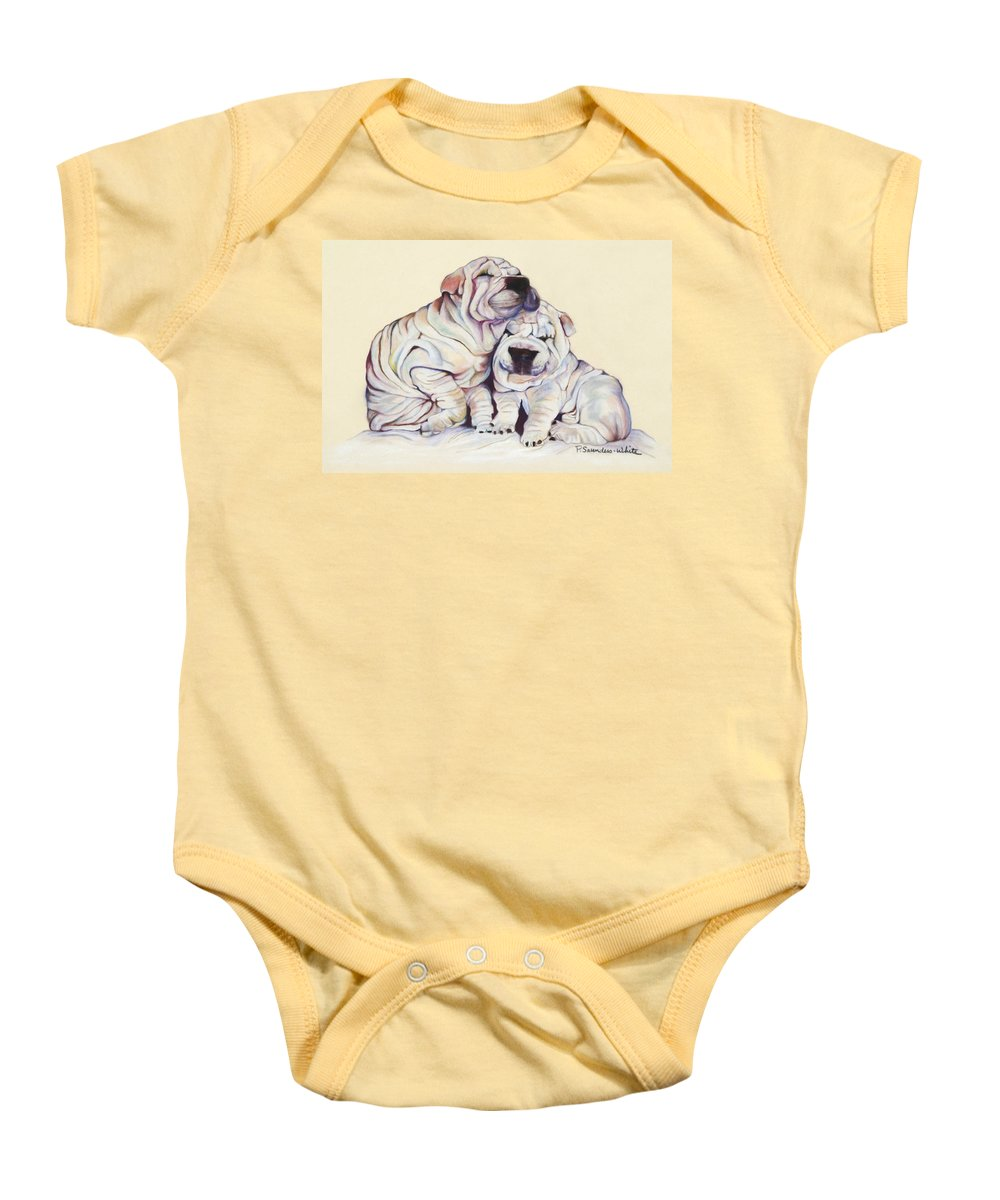Dog Painting Baby Onesie featuring the pastel Snuggles by Pat Saunders-White