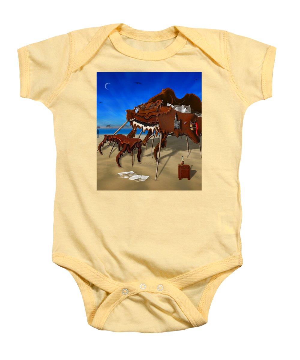 Surrealism Baby Onesie featuring the photograph Soft Grand Piano Man by Mike McGlothlen