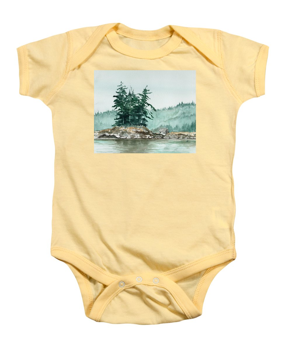 Landscape Watercolor Scenery Scenic Nature Wilderness Cabin Shack Trees Water Rural Baby Onesie featuring the painting Sometimes A Great Notion by Brenda Owen