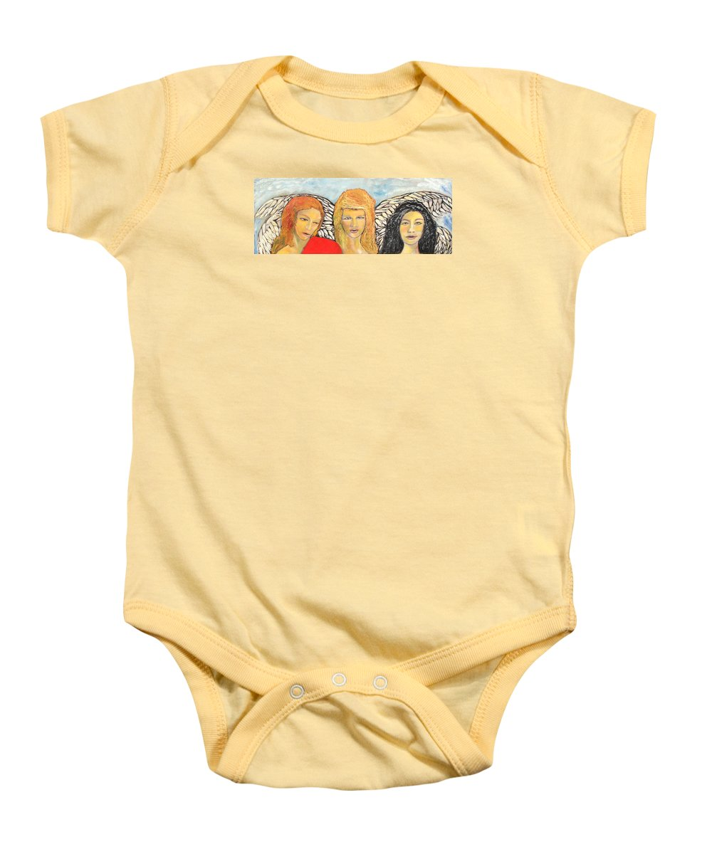 Angels Baby Onesie featuring the painting Song Of The Sisters by J Bauer