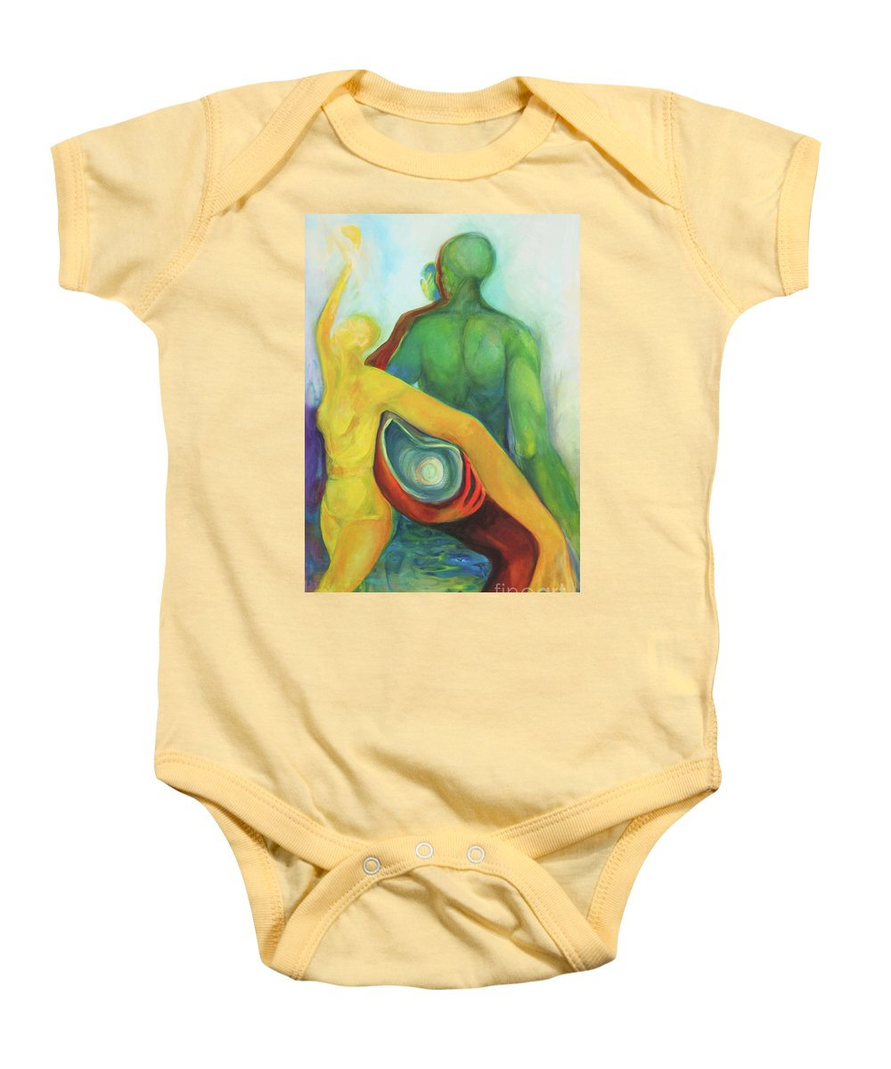 Oil Painting Baby Onesie featuring the painting Source Keepers by Daun Soden-Greene