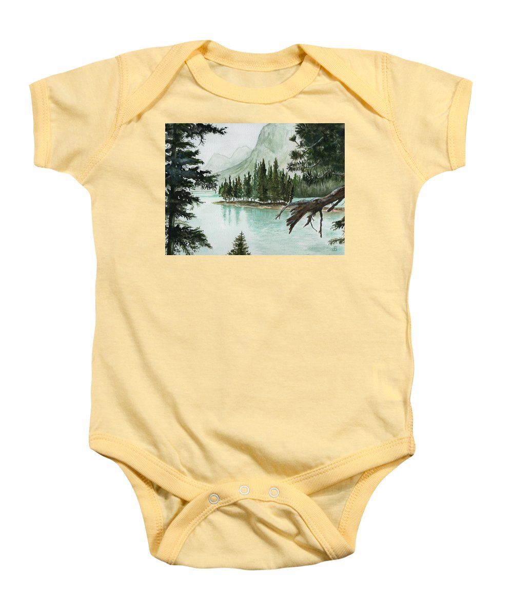 Landscape Baby Onesie featuring the painting Spirit Lake by Brenda Owen