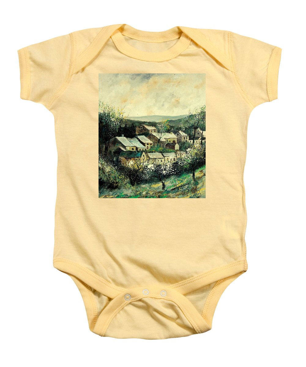Spring Baby Onesie featuring the painting Spring In The Ardennes Belgium by Pol Ledent