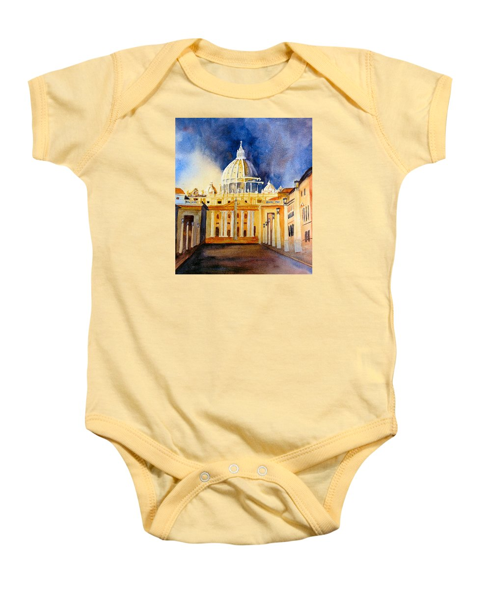 Vatican Baby Onesie featuring the painting St. Peters Basilica by Karen Stark