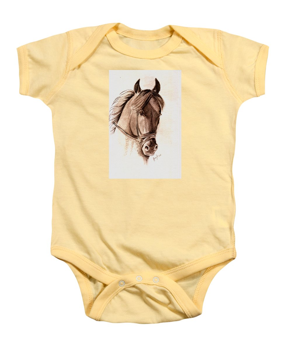 Fine Art Horses Baby Onesie featuring the painting Steely Black Stallion by Remy Francis