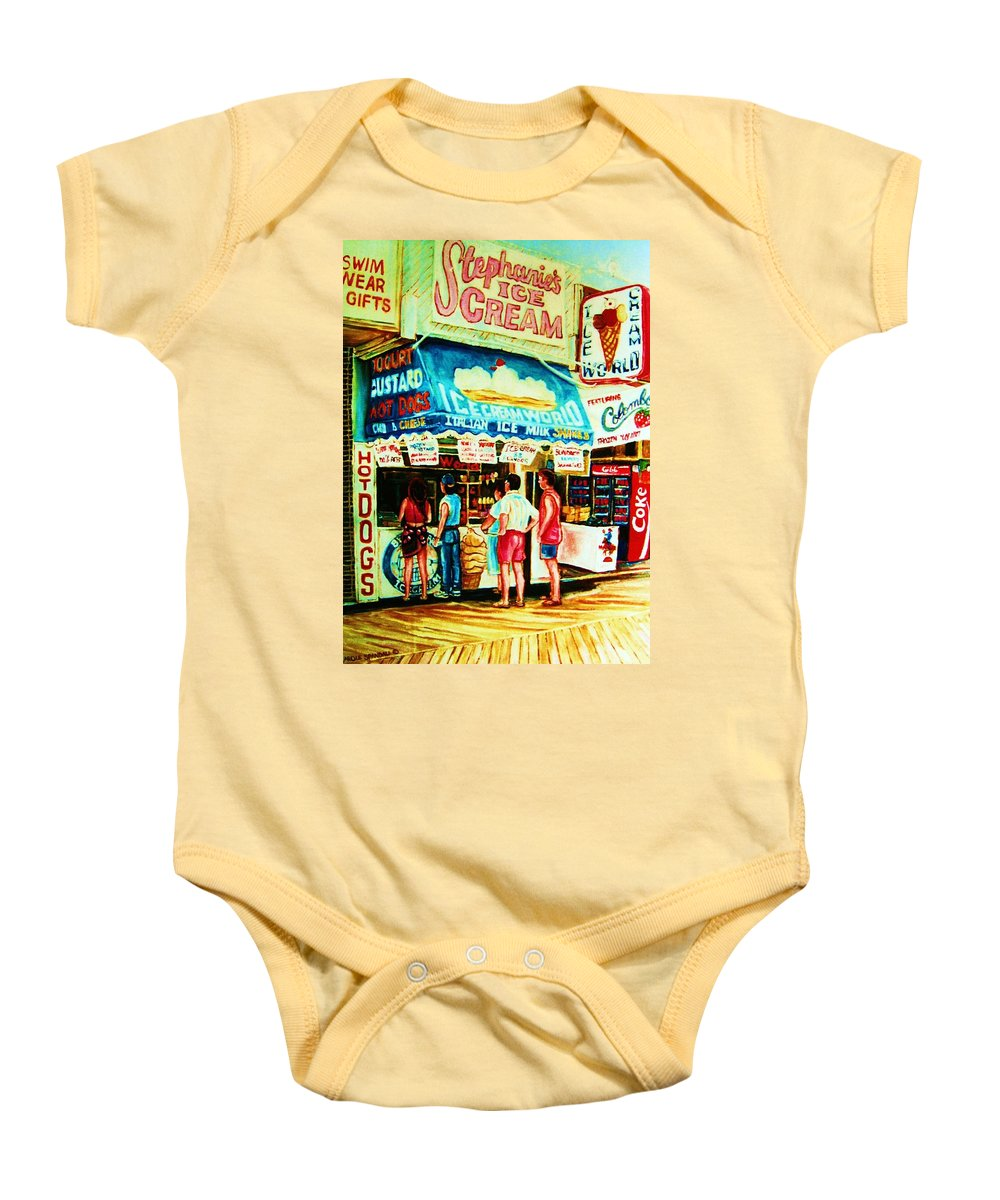 Children Baby Onesie featuring the painting Stephanies Icecream Stand by Carole Spandau