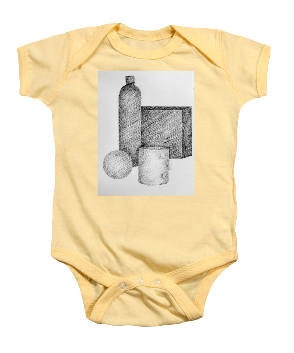 Still Life Baby Onesie featuring the drawing Still Life With Cup Bottle And Shapes by Michelle Calkins