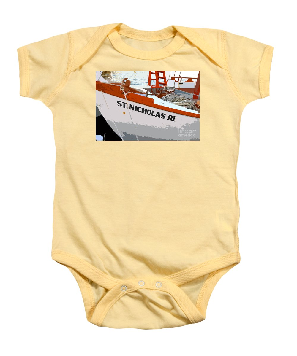 Sponge Boat Baby Onesie featuring the painting St.nicholas Three by David Lee Thompson