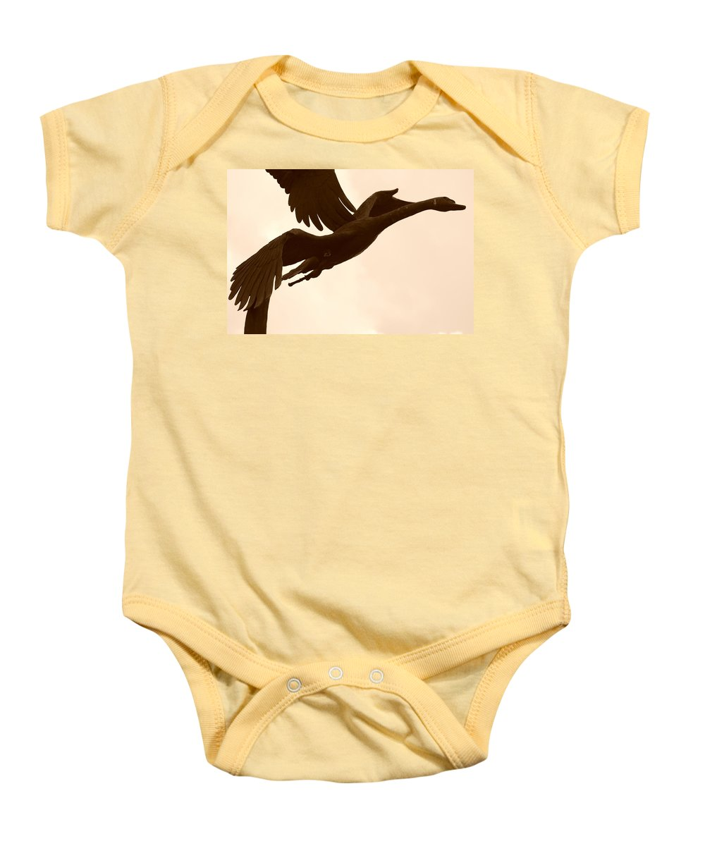 Sepia Baby Onesie featuring the photograph Stone Birds by Rob Hans
